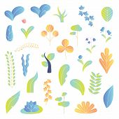Modern Plants Vector Illustration Background Elements Collection Set. Leaves, Tree, Flowers And Othe poster