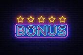 Bonus Neon Text Vector. Bonus Neon Sign, Design Template, Modern Trend Design, Night Neon Signboard, poster