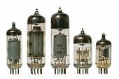 Old Vacuum Radio Tubes Front View.