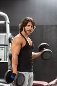 Muscular Fit Young Man Working Out With Dumbbells poster