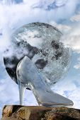 Glass High Heel Slipper With Full Moon At Midnight
