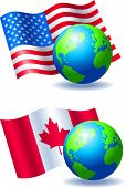 Earth with American and Canadian Flags Vector Illustrations