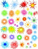 Fireworks of different kinds and varieties vector illustration