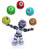 3d render of a robot with bingo balls