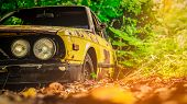 Old Wrecked Car In Vintage Style. Abandoned Rusty Yellow Car In The Forest. Closeup Front View Headl poster