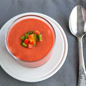 Top View Of Gazpacho, Tomato Cold Soup Made From Raw Blended Vegetables. Traditional Spanish Cold So poster