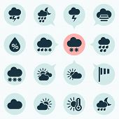 Weather Icons Set With Light, Sunset, Partly Cloudy And Other Flash Elements. Isolated  Illustration poster
