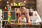 Creativity Concept. Family Build Structure With Toy Bricks, Creativity. Creativity And Imagination F poster