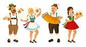 People In Traditional German, Bavarian Costume Holding Beer Mugs, Oktoberfest, Cartoon Vector Illust poster