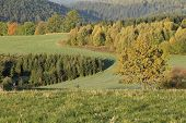 Countryside at autumn time , mountains Jesenik,Czech republic