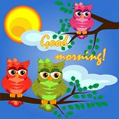 A Owl On A Tree Branch In The Morning, The Sun Shines And Smiles. Inscription Good Morning. Morning, poster