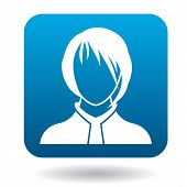 Avatar Woman With A Caret Icon In Simple Style In Blue Square. People Symbol poster
