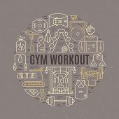 Sport And Fitness Design Element - Different Gym Elements Arranged In A Circle With Sign Gym Workout poster
