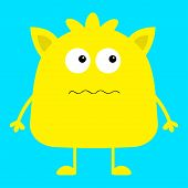Cute Yellow Monster Icon. Happy Halloween. Cartoon Colorful Scary Funny Character. Eyes, Ears, Mouth poster