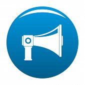 Single Megaphone Icon. Simple Illustration Of Single Megaphone Icon For Any Design Blue poster