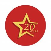 20 Years Star Anniversary Sign. Element Of Anniversary Sign. Premium Quality Graphic Design Icon In  poster