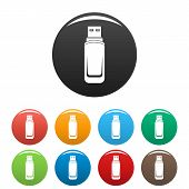 Mini Flash Drive Icon. Simple Illustration Of Mini Flash Drive Icons Set Color Isolated On White poster