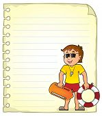 Notepad Page With Life Guard - Eps10 Vector Picture Illustration. poster