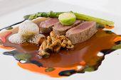 Molecular Cuisine Of Lamb, Mushrooms, Asparagus And Broccoli