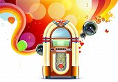 picture of jukebox  - Vector illustration in retro style of party abstract background with detailed classic juke box - JPG