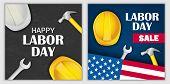 Labor Day Sale Celebration American Banner Concept Set. Realistic Illustration Of 2 Labor Day Sale C poster