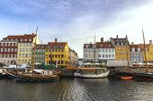 Copenhagen City Skyline At Nyhavn Harbour, Copenhagen Denmark poster