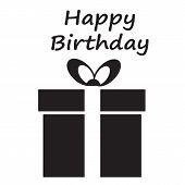 Happy Birthday Card With Giftbox. Happy Birthday Icon On White Background. Flat Style. Happy Birthda poster