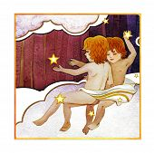 Astrological Sign Of The Zodiac Gemini - Two Boys, On A Dark  Pattern Background poster