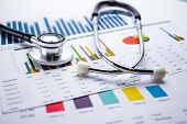 Stethoscope, Charts And Graphs Spreadsheet Paper, Finance, Account, Statistics, Investment, Analytic poster
