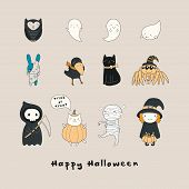 Set Of Kawaii Funny Halloween Characters, With Ghosts, Cats, Zombie Bunny, Witch, Death, Mummy, Spid poster