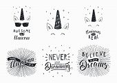 Set Of Hand Written Funny Inspirational Lettering Quotes About Unicorns, Dreams. Isolated Objects. H poster