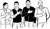 Four men listen and sing their national anthem