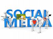 Social media concept over white