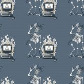Broken Robot And Broken Computer Seamless Pattern, Cartoon Characters Quirky Background. poster