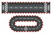Racing Track, Top View Of Asphalt Roads Set, Kart Race With Start And Finish Line. Vector Illustrati poster