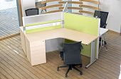 Office Desks And Black Chairs Cubicle Set