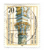Germany- Circa 1985: Stamp Printed By Germany, Shows Dominic Zimmermann (1685-1766) Column Capital F
