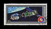 Ussr - Circa 1975: Stamp Printed In Ussr (russia) Shows Experimental Flight Of Soyuz And Apollo Spac