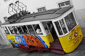 Painted Tram At Elevador da Gloria