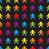 Retro rainbow pixel game monkeys seamless vector