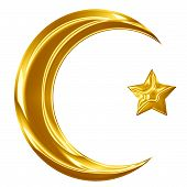 stock photo of crescent-shaped  - Islam sign with a crescent and a smaller star - JPG