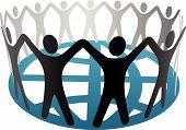 World Symbol Menschen auf der Erde halten Hände auf Globus