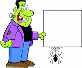 picture of frankenstein  - Cartoon illustration of Frankenstein holding a sign - JPG