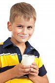 ?ute Boy Is Drinking Milk On  White