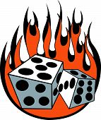 picture of rockabilly  - Dice and Flames Clip Art in Retro or Vintage Las Vegas or Rockabilly Tattoo Design Style - JPG