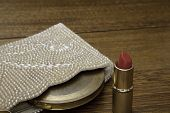 Vintage Pearl Beaded Purse, Compact and Open Red Lipstick