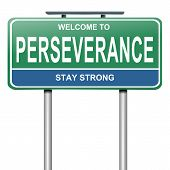 foto of perseverance  - Illustration depicting a blue and green roadsign with a perseverance concept - JPG