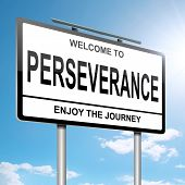 image of perseverance  - Illustration depicting a roadsign with a perseverance concept - JPG