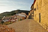 Old Small Spanish Town With Mountain View. Ares In Spain.