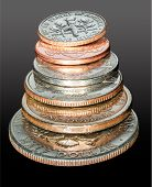 Stack Of Usa Currency Coins In Macro